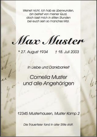 Trauerdruck von Zehner GmbH Bestattungen